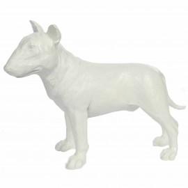 Statue en résine bull terrier blanc 32 cm