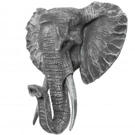 Statue en résine trophée tête d'éléphant couleur béton - 45 cm