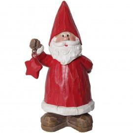 Père noël a l'étoile rouge statue en résine façon bois brut 20 cm