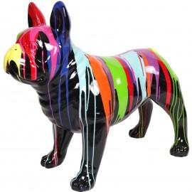 Statue chien bouledogue Français en résine multicolore fond noir -Victor- 90 cm
