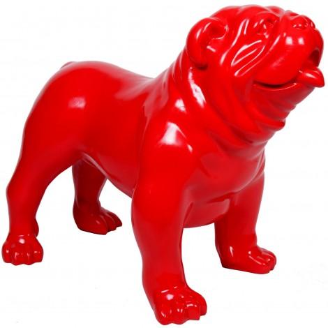 Statue en résine CHIEN bouledogue anglais rouge aspect lisse - 90 cm