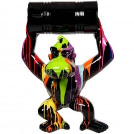 Statue en résine Donkey Kong gorille singe multicolore noir avec tonneau -Denis- 100 cm