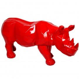 Statue origami rhinocéros en résine rouge - 100 cm