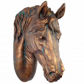 Statue tête de cheval murale en résine patine dorée antique - 63 cm