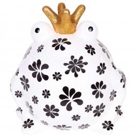 Tirelire en céramique statue grenouille décor fleurs - 28 cm