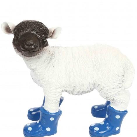 Statue en résine d'un mouton tête noire en bottes bleu 30 cm