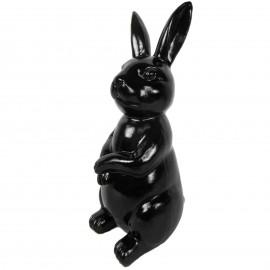 Statue en résine Lapin assis noir hauteur - 30 cm
