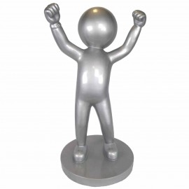 Statue design en résine argentée personnage a la tête ronde 100 cm