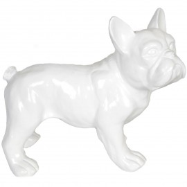 Statue chien bouledogue Français blanc en résine - nono - 27 cm