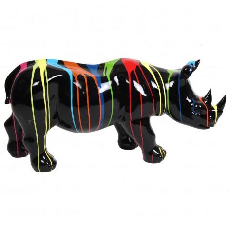 Statue rhinocéros multicolore fond noir en résine - 100 cm