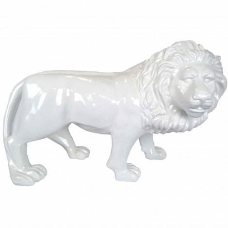 Statue en résine blanche lion debout tête tournée 90 cm