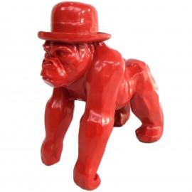 Statue en résine singe gorille rouge en origami - 25 cm