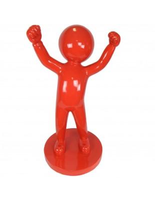 Statue design en résine rouge personnage tête ronde 100 cm