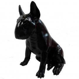 Statue chien bull terrier assis  en résine noire 62 cm