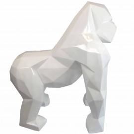 Statue en origami gorille en résine de couleur blanche 130 cm