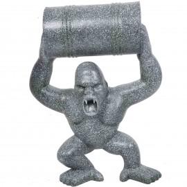 Statue en résine Donkey Kong gorille singe tonneau façon granit -Daniel- 85 cm
