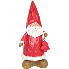 Père noël au sapin rouge statue en résine 20 cm