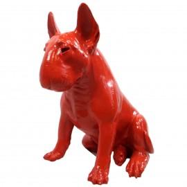 Statue chien bull terrier assis  en résine rouge 62 cm
