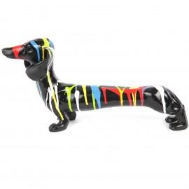 Statue chien teckel multicolore fond noir en résine - 40 cm