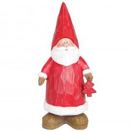 Père noël au sapin rouge statue en résine 35 cm