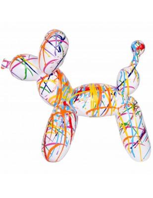 Statue chien ballon en résine multicolore fond blanc Achille - 28 cm