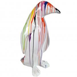 Statue en résine pingouin multicolore fond blanc 94 cm
