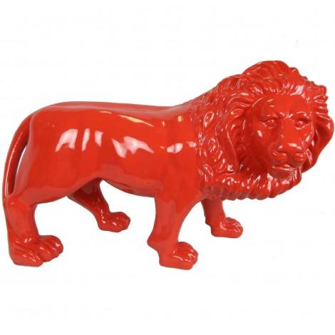 Statue en résine rouge lion tête tournée 90 cm