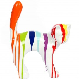 Statue chat en résine que droite multicolore fond blanc 35 cm