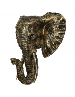Statue en résine trophée tête d'éléphant couleur dorée antique - 45 cm