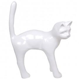 Statue en résine chat blanc - 105 cm