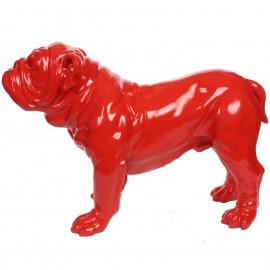 Statue en résine rouge chien bouledogue anglais sur pattes 60 cm