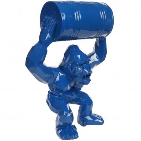 Gorille tonneau agressif statue bleu en origami 67 cm