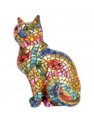 Statue en résine chat assis en mosaïque multicolore - 18 cm