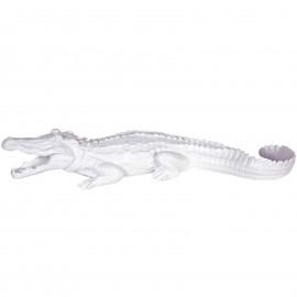 Statue en résine crocodile blanc gueule ouverte - 70 cm