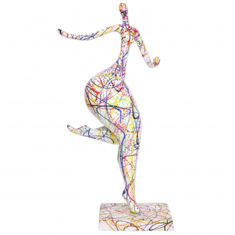 Statue femme design moderne en résine multicolore (Amandine) - 78 cm