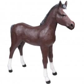 Statue poulain cheval marron foncé en résine 150 cm