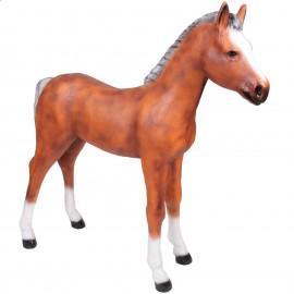 Statue poulain cheval marron clair en résine 150 cm