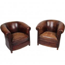 Paire de fauteuils club en cuir vintage patine antique - 80 cm