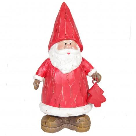 Père noël en résine présentant son petit sapin rouge 15 cm