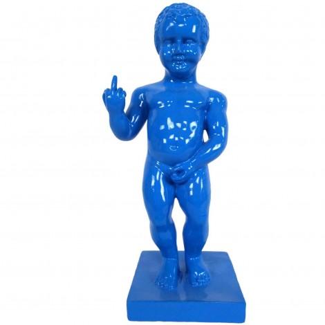 Statue en résine bleu Manneken-Pis doigt d'honneur 35 cm