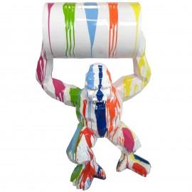 Gorille singe tonneau statue en origami multicolore fond blanc 135 cm