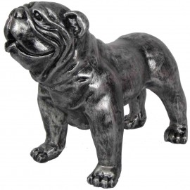 Statue en résine CHIEN bouledogue anglais patine acier - 28 cm