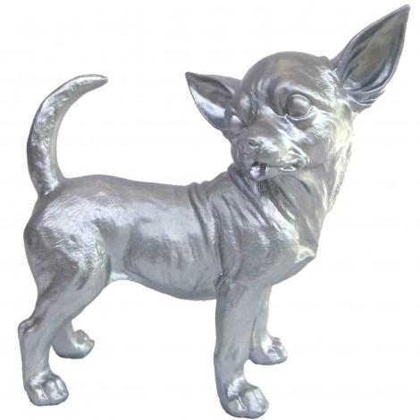 Statue CHIEN chihuahua argent - 30 cm