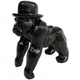 Statue en résine singe gorille noir en origami - 25 cm