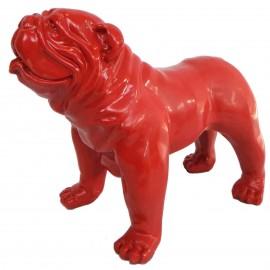 Statue en résine CHIEN bouledogue anglais de couleur rouge - 28 cm