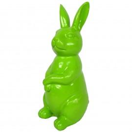Statue en résine Lapin assis vert hauteur - 30 cm