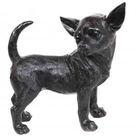 Statue en résine CHIEN chihuahua noir - 30 cm