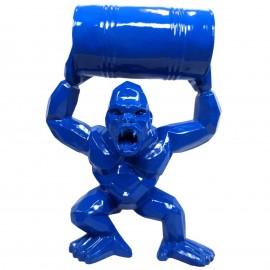Gorille singe tonneau agressif statue couleur bleu en origami 95 cm