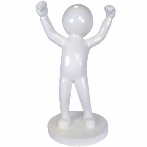 Statue design en résine blanche personnage tête ronde 100 cm