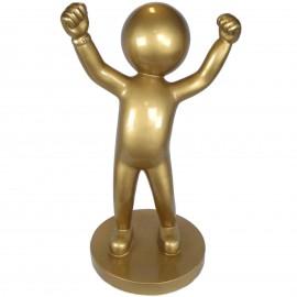 Statue design en résine dorée personnage a la tête ronde 100 cm